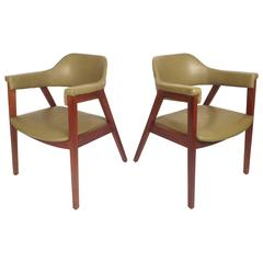 Mid-Century Modern Vinyl Barrel Back Chairs