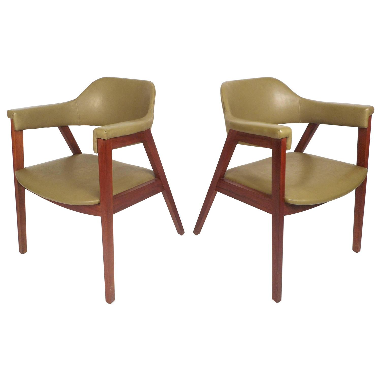 Pair of vintage danish rosewood and brushed steel side cabinets ref - Mid Century Modern Vinyl Barrel Back Chairs Pair Mid Century Danish