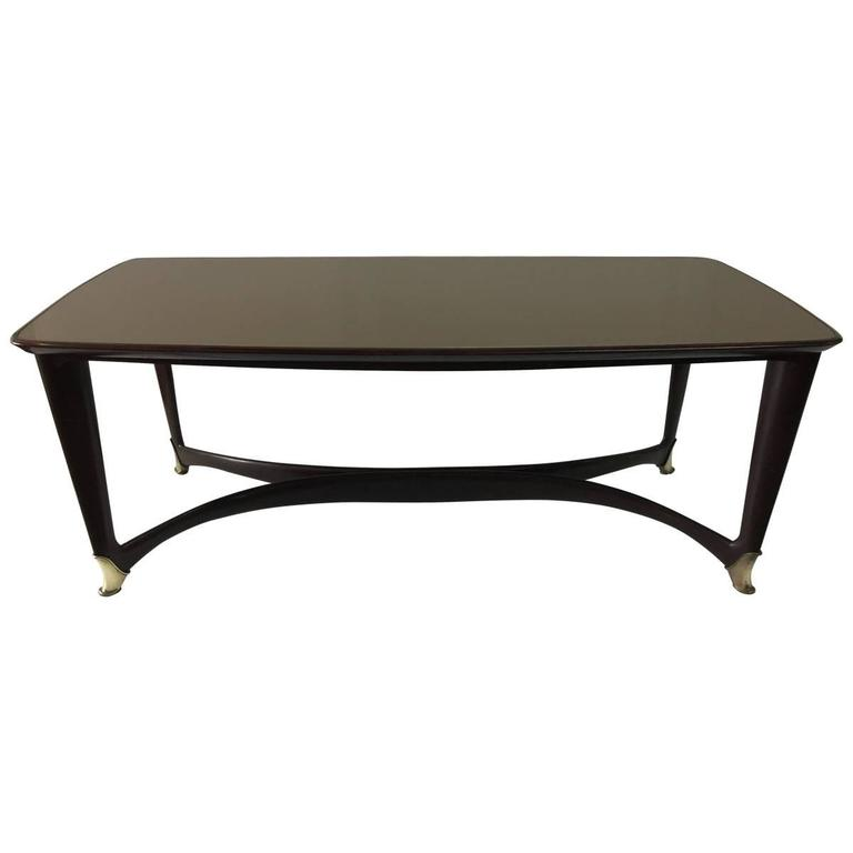 Paolo Buffa Attributed to Reverse Painted Top and Walnut Italian Dining Table