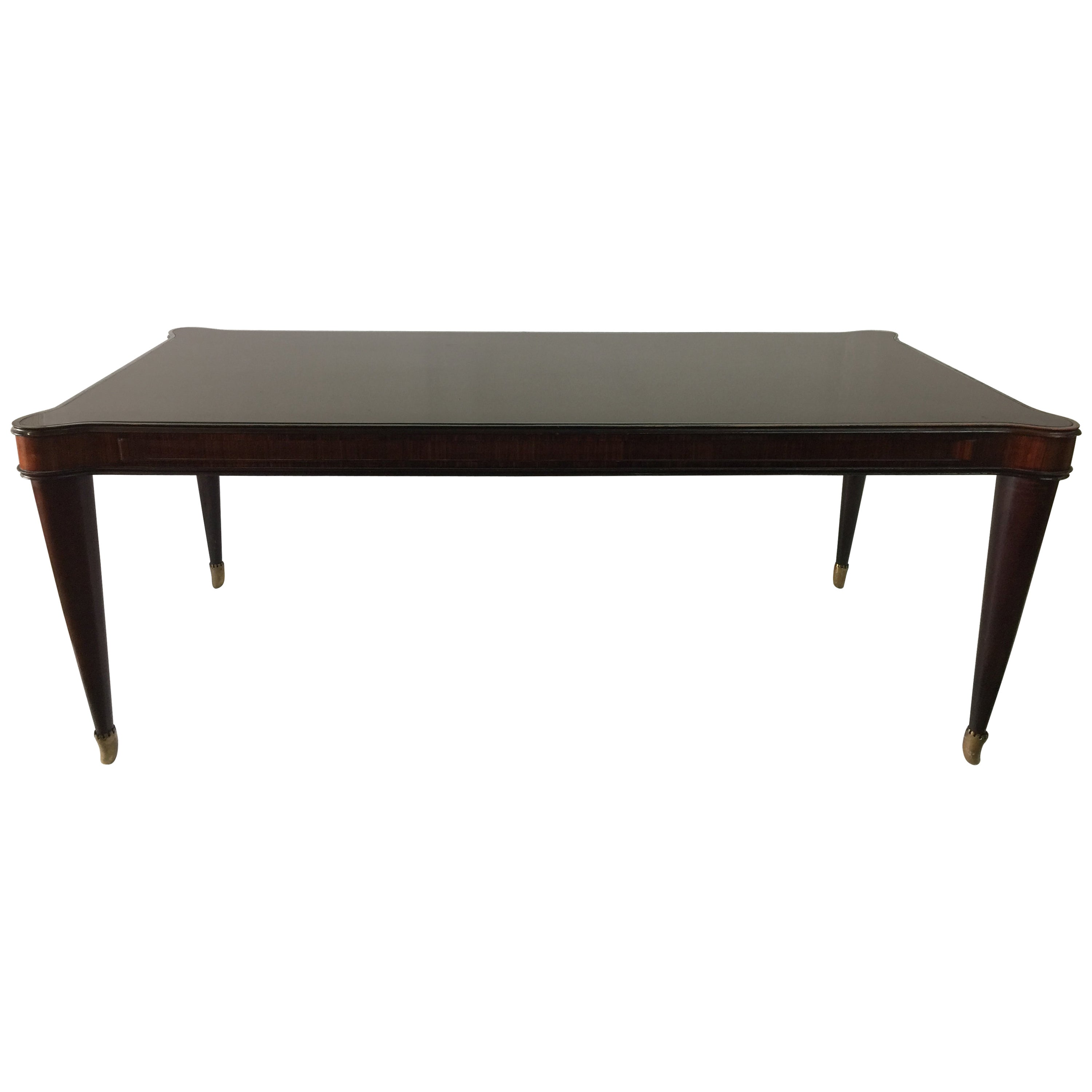 Paolo Buffa Vintage Italian Scalloped Top Glass Dining Table