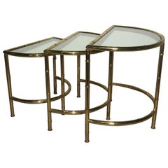 Curved Nesting Table Coffee 1970s Solid Brass  Italian Design Bamboo Shape