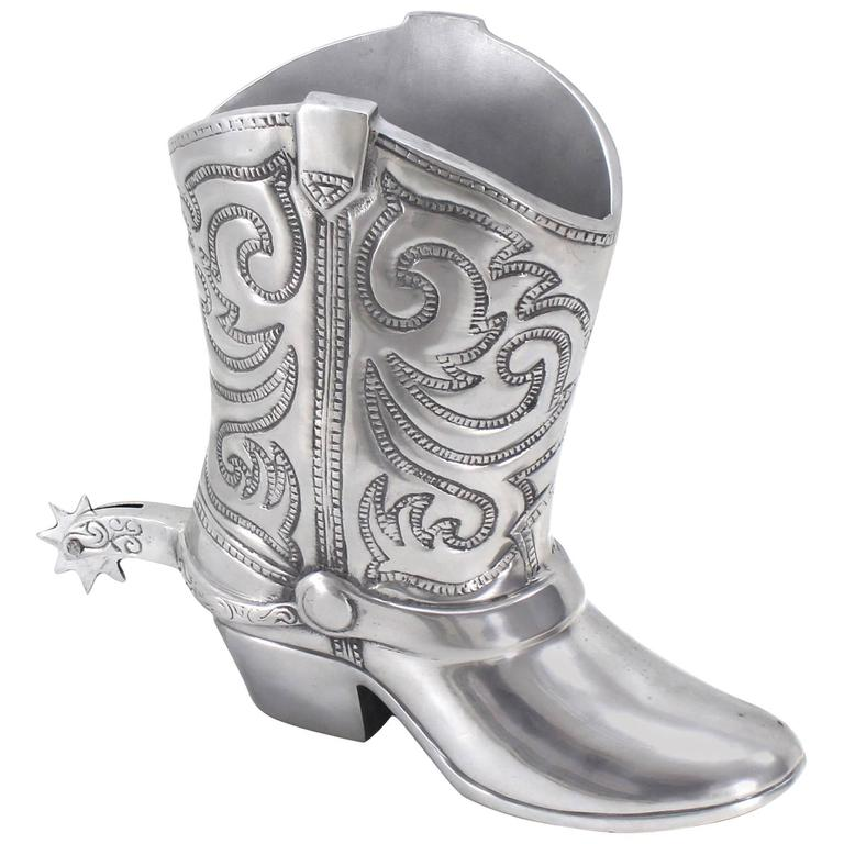 Large Cast Metal Western Boot Vase Planter Towle Silver For Sale At