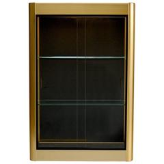 Gold Colored Wall Display Cabinet or Vitrine with Sliding Glass Doors, 1970s