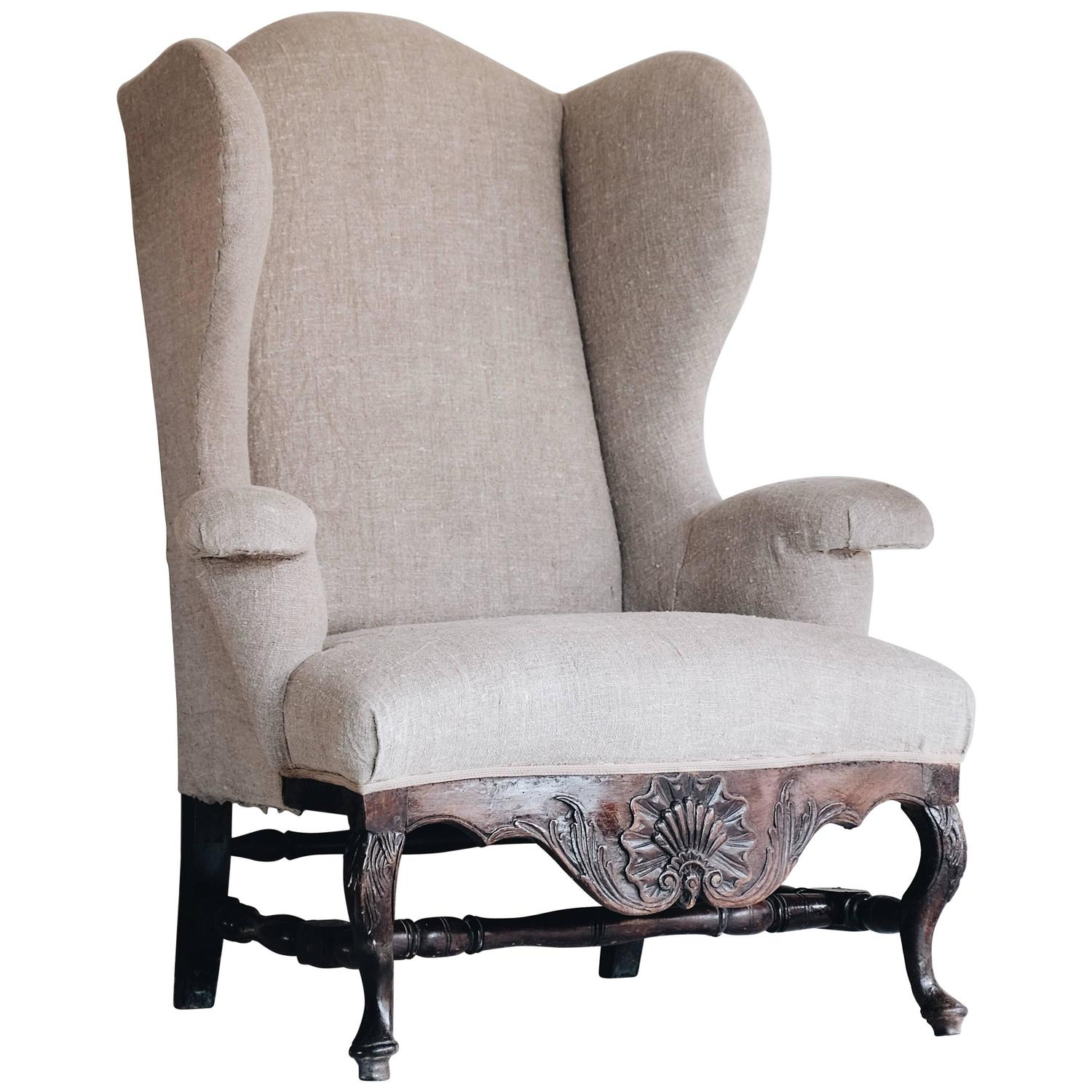 Heywood Wakefield Wicker Wingback Armchairs For Sale at 1stdibs
