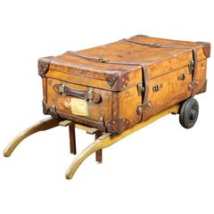 1930s Leather Trunk Fixed on Old Trolley