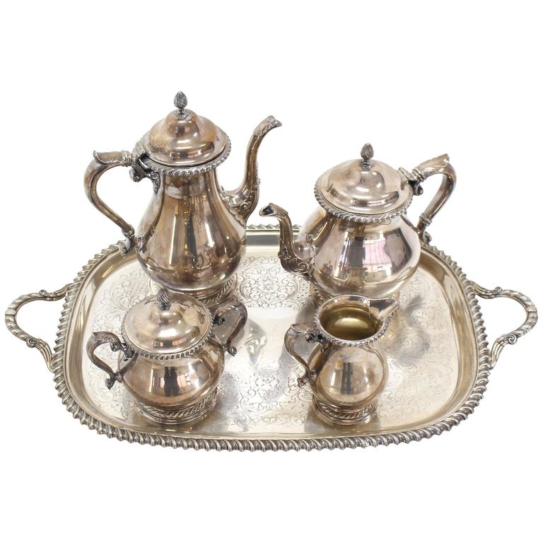 Five Pieces Gorham Silver Plated Coffee and Tea Set