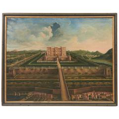 French Oil on Canvas of Chateau De Lagarde, Dated 1852
