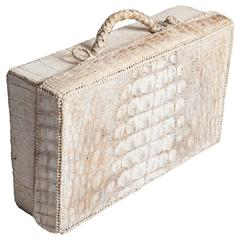 Unique Art Deco Picnic Case Out of Creme-White Croco Leather