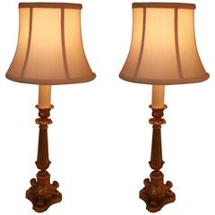 Pair of French Empire Style Bronze Table Lamps