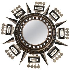 Graphic Sunburst Mirror by Georges Pelletier, France, circa 1970