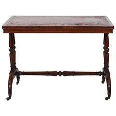 Late 19th Century Leather Top Writing Table, Stamped James Winter