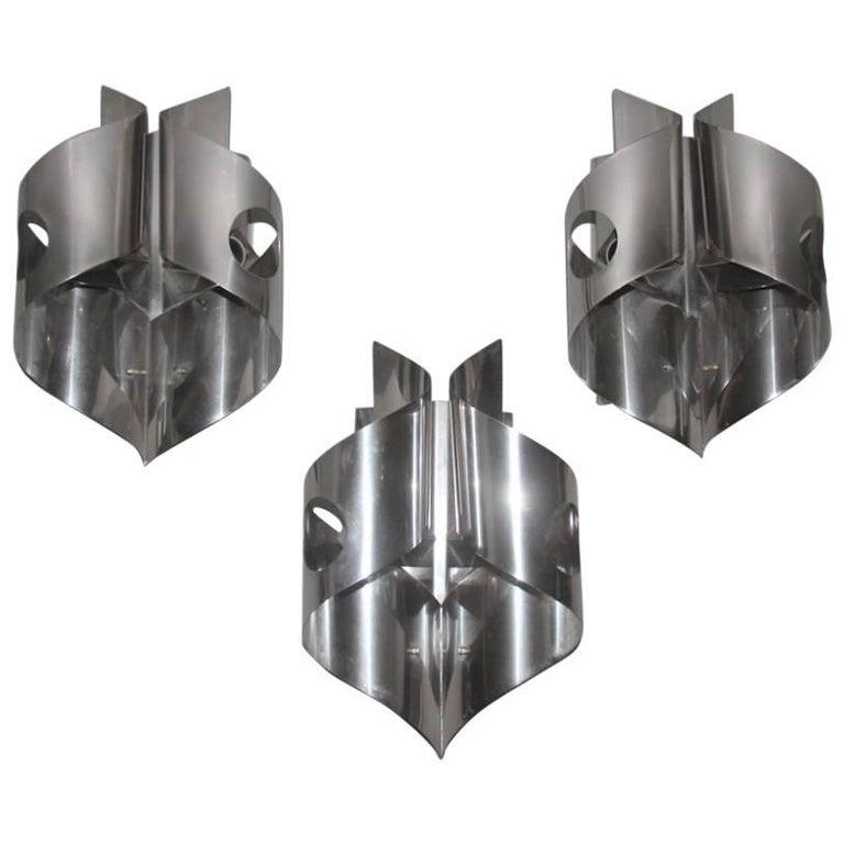 Sculpture Steel Curved Sconces 1970s Italian Design For Sale