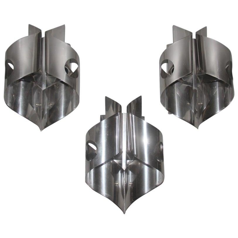 Sculpture Steel Curved Sconces 1970s Italian Design