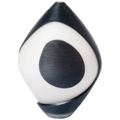 Unique Modern Italian Murano Glass Vase Black & White Colored Sign, Pietro Ferro