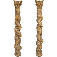 Pair of Italian 17th Century Baroque Period Patinated and Giltwood Columns