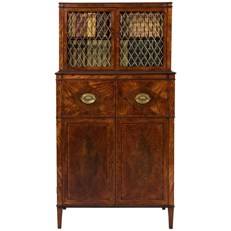 George III Sheraton 18th Century Satinwood Inlaid Secrétaire Dwarf Bookcase For Sale