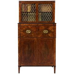 George III Sheraton 18th Century Satinwood Inlaid Secrétaire Dwarf Bookcase