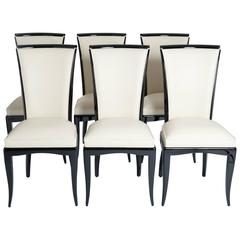 Set of Six Elegant, French Art Deco Dining Chairs, Re-Lacquered, Re-Upholstery