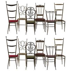 Outstanding Set of 12 Chiavari Brass Chairs