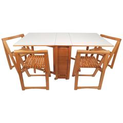 Mid-Century Modern Compact Drop-Leaf Dining Table with Chairs