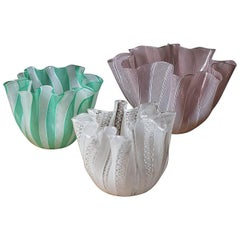 "Set of Three ""Fazzoletto"" Vases by Venini"