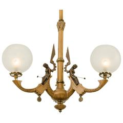 Remarkable three-Light Gasolier with Winged Fairies, circa 1870s