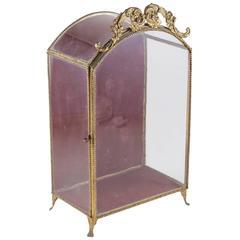 19th Century Brass Tabletop Vitrine Velvet Lined Display Box with Original Glass