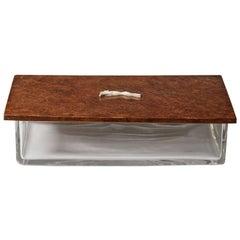 Italian 1950s Glass and Wood Box