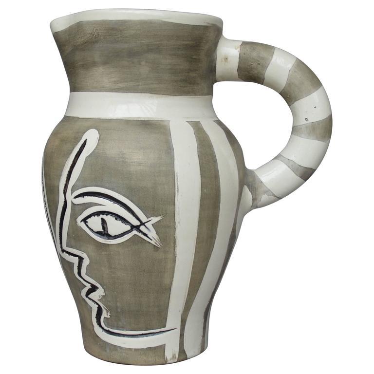 Pablo Picasso Madoura Ceramic Grey Engraved Pitcher, 1954