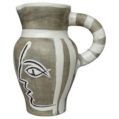 Pablo Picasso Madoura Ceramic Grey Engraved Pitcher, 1954