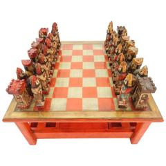 1950s Italian Large Sculpture Chess Set and Game Coffee Table