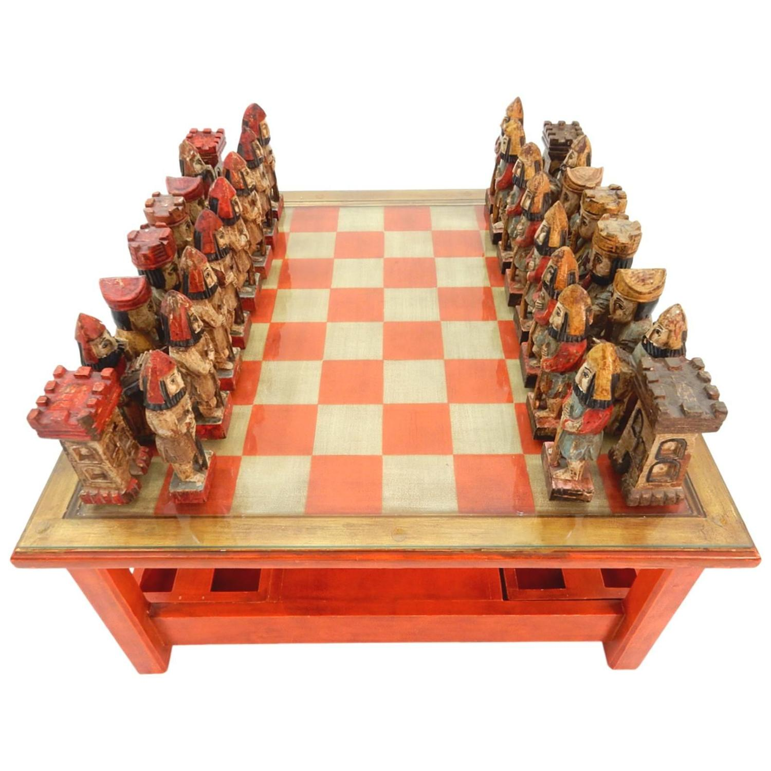 Beau 1950s Italian Large Sculpture Chess Set And Game Coffee Table