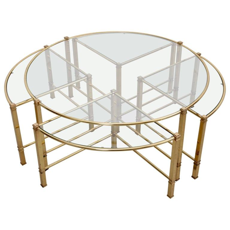 Bronze Nesting Coffee Tables: Huge Round Coffee Table In Brass With Four Nesting Tables