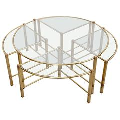 Huge Round Coffee Table In Brass With Four Nesting Tables By Maison Charles