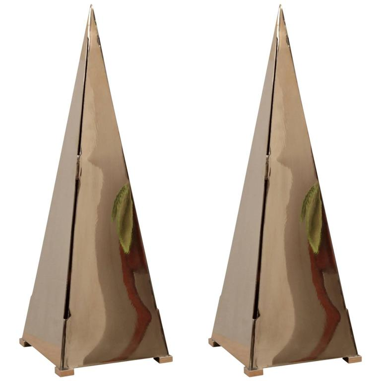 Pair of Very Huge Brass Pyramid Table Lamps