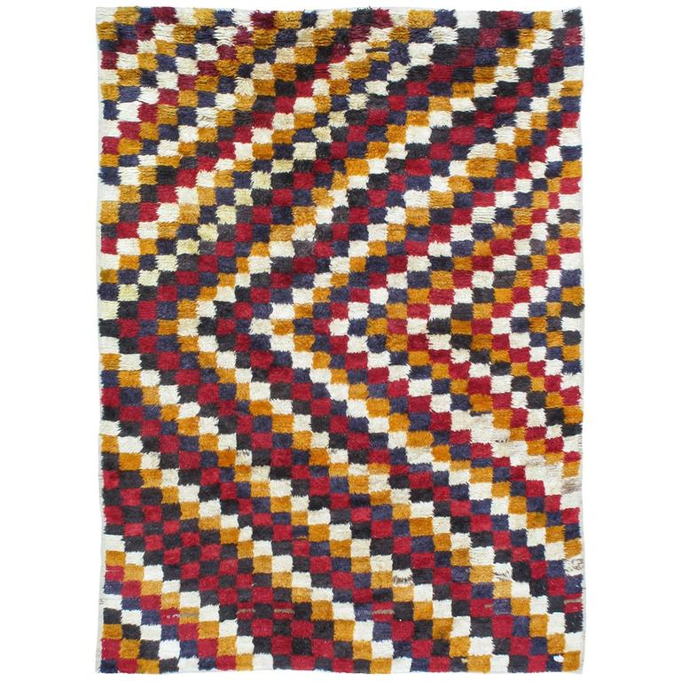 """Tulu"" Rug with Checkered-Diagonal Pattern"
