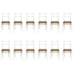 "Set of 12 Dining Chairs Mod. ""Leggera nr. 646"" by Gio Ponti for Cassina, 1952"