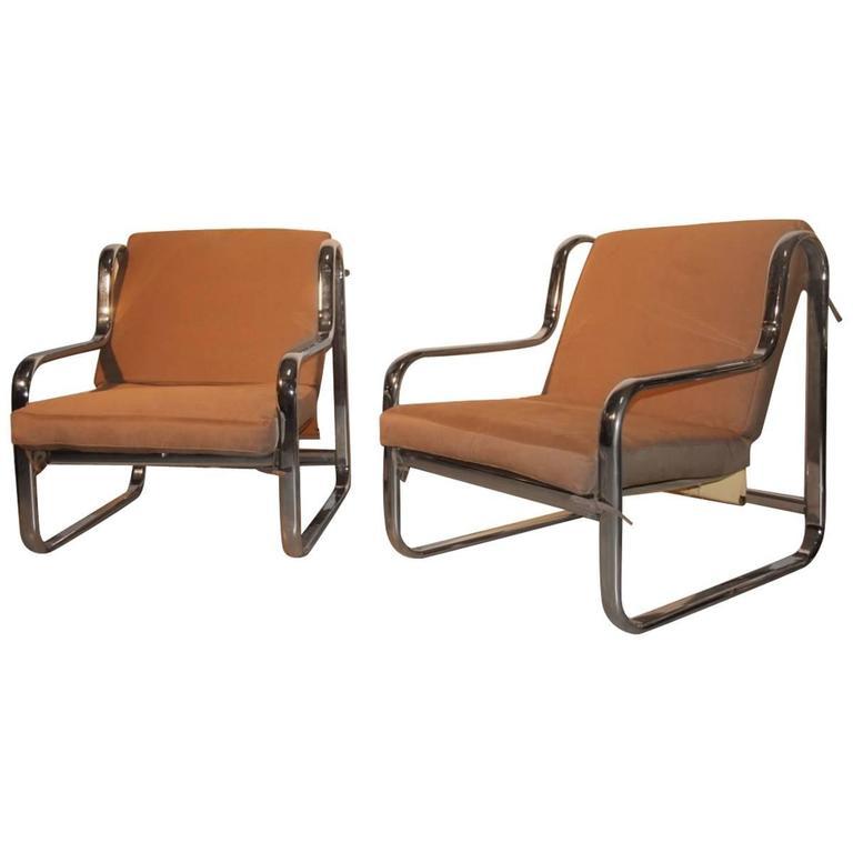 Minimal Pair of Armchairs 1970s Italian Design Chromed Metal