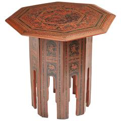 Burmese 19th Century Octagonal Lacquerwork Folding Table