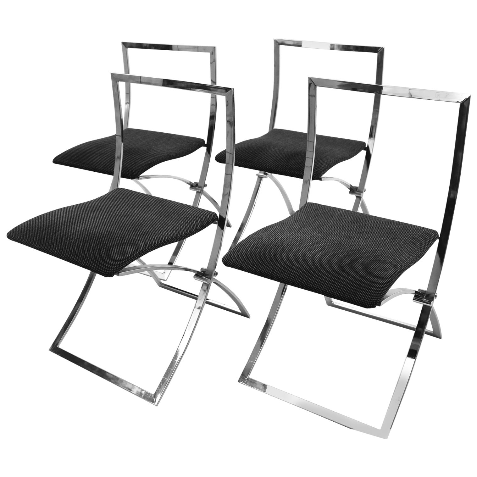 Mid Century Modern Chromed Foldable Vintage Chairs by Marcello Cuneo 1970 Italy