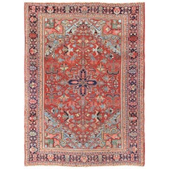 Antique Heriz-Serapi Rug with Small Central Medallion and Geometric Design