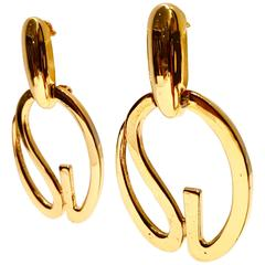 "St. John Gold ""SJ"" Dangle Statement Earrings"