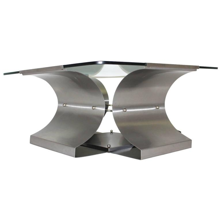 Stainless Steel Coffee Table by Francois Monnet, France, 1970s