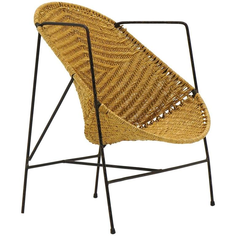 John Salterini Childs Chair Wrought Iron And Wicker For