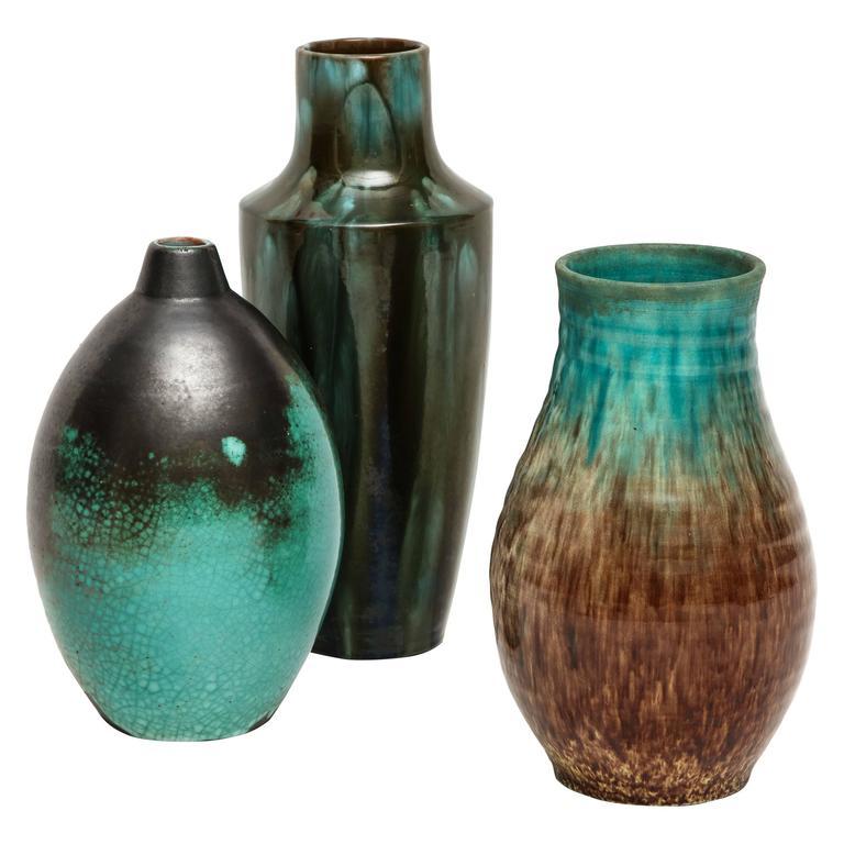 Primavera Accolay Massier Ceramic Green Black Vases, France, 1930s Mid-Century