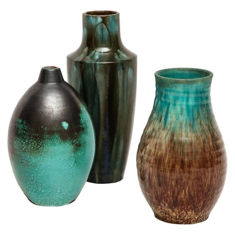 Primavera Accolay Massier Ceramic Green Black Vases, France, 1930s Mid-Century For Sale