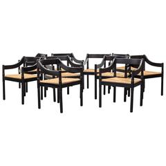 Set of Ten Vico Magistretti Chairs for Cassina Carimate