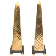 Pair of Wood and Brass Diamond Patterned Obelisks