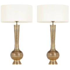 Pair of Etched Brass Table Lamps in the Style of Persian Khatam, circa 1950s