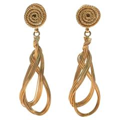 St. John Gold Wire and Rope Statement Earrings